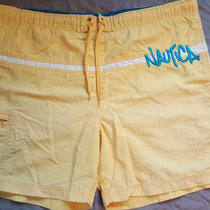 Vintage Nautica Swim Trunks Yellow Teal Size L